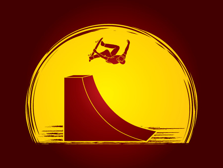 somersault: Skateboarder high jumping designed on moonlight background graphic vector.