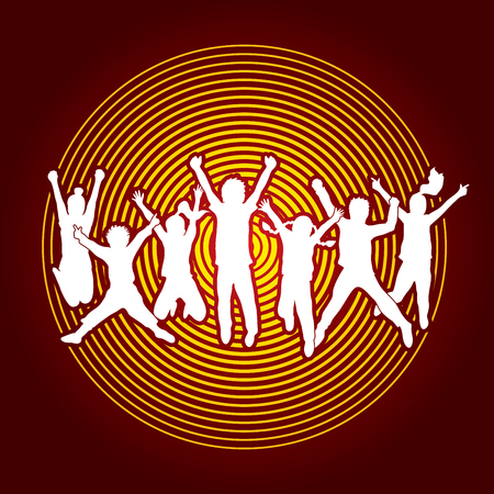 group jumping: Group of children jumping , Front view designed on circle light background graphic vector.