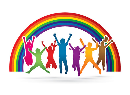 group jumping: Group of children jumping , Front view designed on rainbows background graphic vector. Illustration