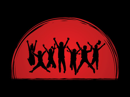 Group of children jumping , Front view designed on sunset background graphic vector.