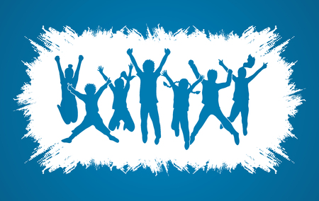 Group of children jumping , Front view designed on grunge frame background graphic vector.