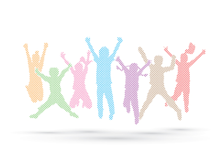mixed race: Group of children jumping , Front view designed using colors dots graphic vector.