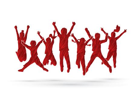 mixed race children: Group of children jumping , Front view designed using red grunge brush graphic vector.