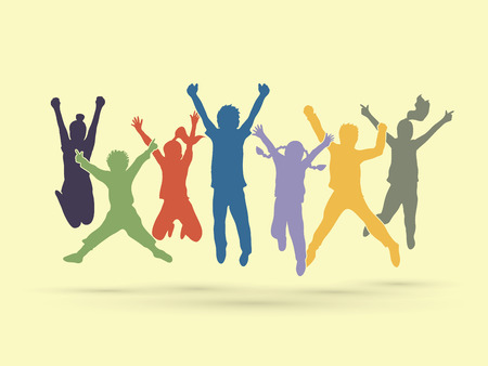 group jumping: Group of children jumping , Front view graphic vector.