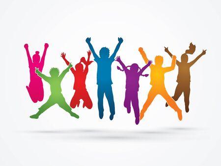 Grupo de niños de salto, Vista frontal diseñado con el arco iris de colores de gráficos vectoriales.