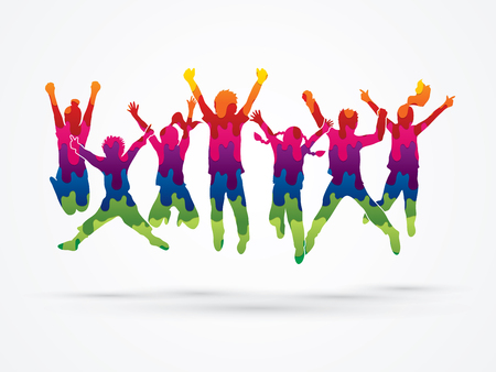 Student Life: Group of children jumping , Front view designed using melt colors graphic vector.