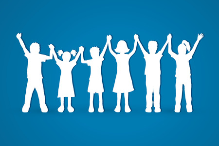 and delighted: Children holding hands graphic vector.