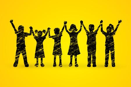 children holding hands: Children holding hands designed using black grunge brush graphic vector.