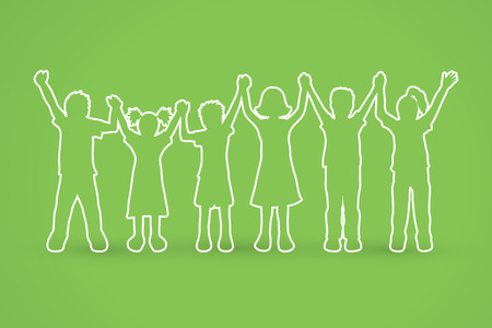 Children holding hands outline graphic vector.