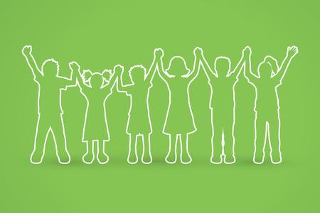 Children holding hands outline graphic vector. Ilustração