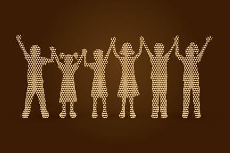 child abuse: Children holding hands designed using geometric pattern graphic vector. Illustration