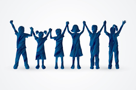 and delighted: Children holding hands designed using blue grunge brush graphic vector. Illustration