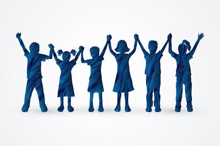 Children holding hands designed using blue grunge brush graphic vector. Vectores