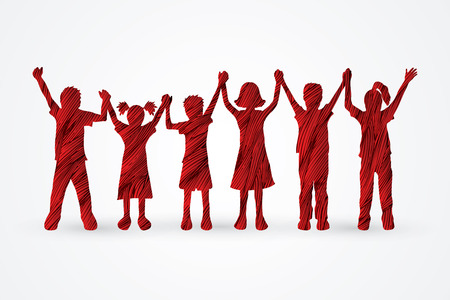 standing together: Children holding hands designed using red grunge brush graphic vector.