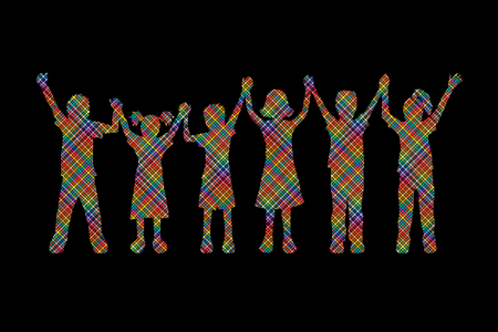 children holding hands: Children holding hands designed using colorful pixels graphic vector.