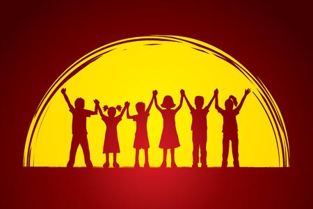 standing together: Children holding hands designed on moonlight background graphic vector.