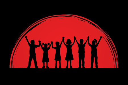children holding hands: Children holding hands designed on sunset background graphic vector.