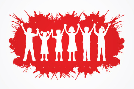 child abuse: Children holding hands designed on splash ink background graphic vector.