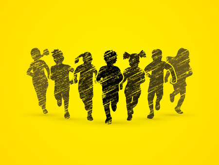 children running: Children running, Designed using grunge brush graphic vector.