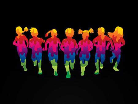 Los niños corriendo, Diseñado utilizando colorido gráfico vectorial. Ilustración de vector