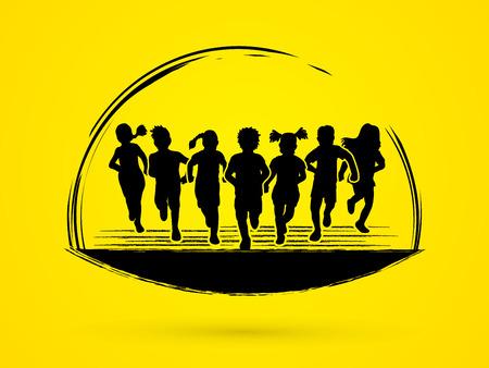 Children running graphic vector. Stock Illustratie