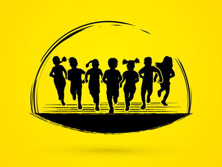 Children running graphic vector. Illustration