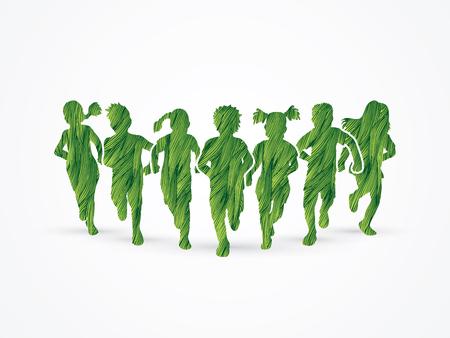 children running: Children running, Designed using green grunge brush graphic vector.