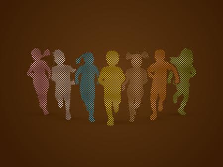 children running: Children running, Designed using colorful pixels graphic vector.