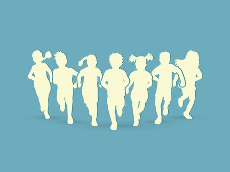 Niños corriendo gráfico vectorial.