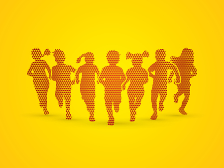 children running: Children running, Designed using geometric pattern graphic vector.