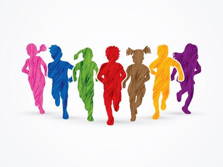 Children running, Designed using colorful grunge brush graphic vector. Vector Illustration