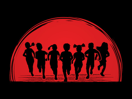 mixed race: Children running, Designed on sunset background graphic vector. Illustration