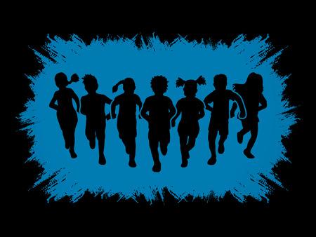 children running: Children running, Designed on grunge frame background graphic vector.