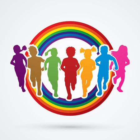 Children running, Designed using colorful colors on rainbows background graphic vector.