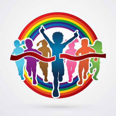 Winner Running, Group of Children Running, designed on line rainbows background graphic vector. Illustration