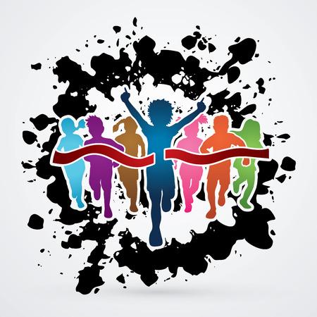 Winner Running, Group of Children Running, designed on splatter ink background graphic vector.