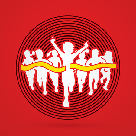 Winner Running, Group of Children Running, designed on line circle background graphic vector.