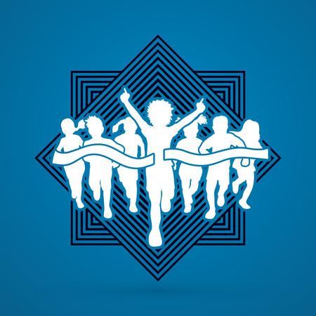 Winner Running, Group of Children Running, designed on line square background graphic vector.