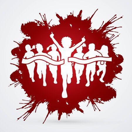 Winner Running, Group of Children Running, designed on splatter blood background graphic vector.