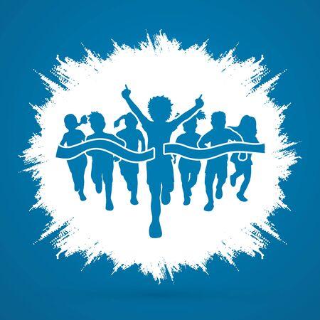 runner up: Winner Running, Group of Children Running, designed on grunge frame background graphic vector.