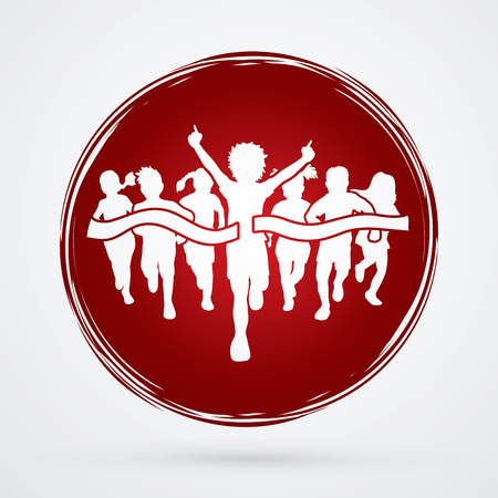 athleticism: Winner Running, Group of Children Running, designed on grunge circle background graphic vector. Illustration
