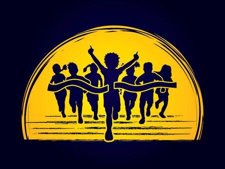 Winner Running, Group of Children Running, designed on moonlight background graphic vector. Illustration