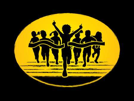children running: Winner Running, Group of Children Running graphic vector.