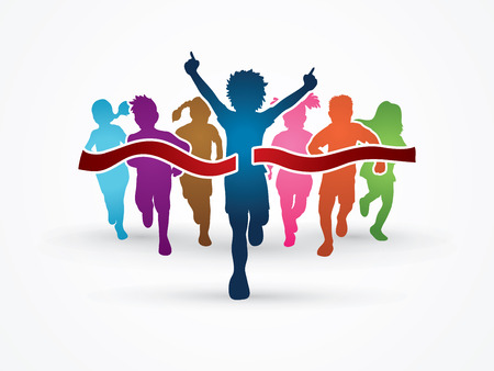 victorious: Winner Running, Group of Children Running, designed using colorful graphic vector.