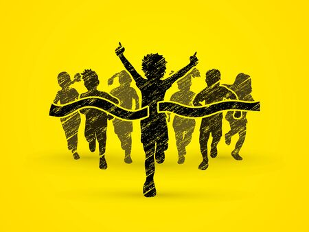 children running: Winner Running, Group of Children Running, designed using black grunge brush graphic vector.