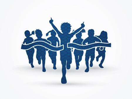 Winner Running, Group of Children Running, designed using wave water pattern graphic vector.