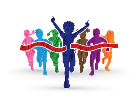 Winner Running, Group of Children Running, designed using colorful grunge brush graphic vector.