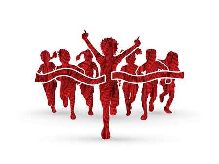 Winner Running, Group of Children Running, designed using red grunge brush graphic vector. Illustration