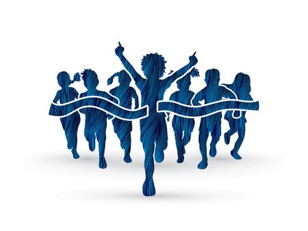 Winner Running, Group of Children Running, designed using blue grunge brush graphic vector.