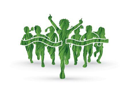 Winner Running, Group of Children Running, designed using green grunge brush graphic vector. Illustration